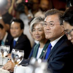 South Korean President Moon Jae-in, second from right, is shown during a meeting with House Speaker Paul Ryan of Wis., on Capitol Hill in Washington, Thursday, June 29, 2017.