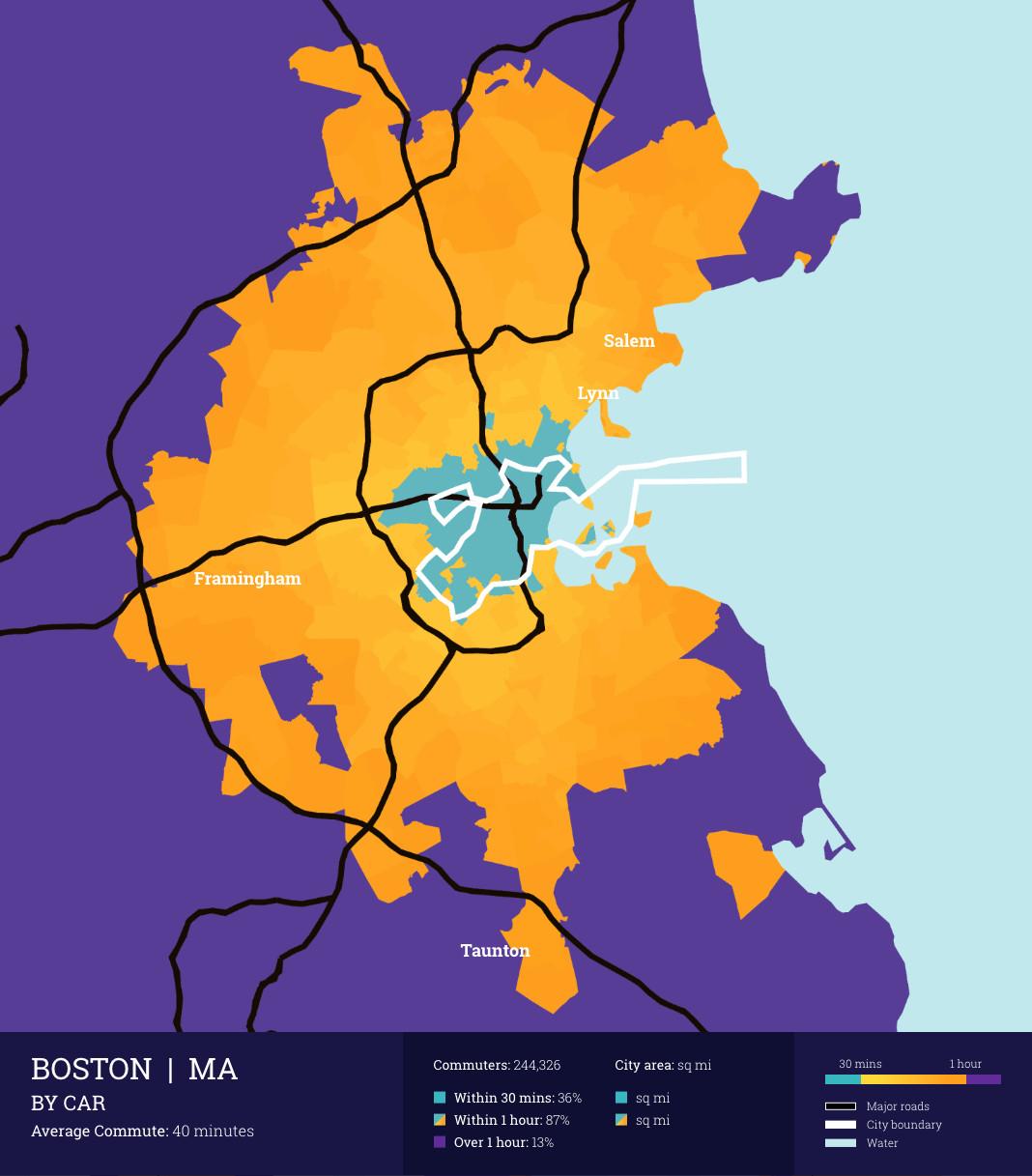 Boston Commute Times Via Car And Public Transit Among Longest In - Us-map-boston-ma