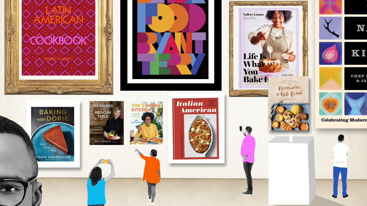 A photo-illustration of a museum scene in which the art on the walls is cookbook covers