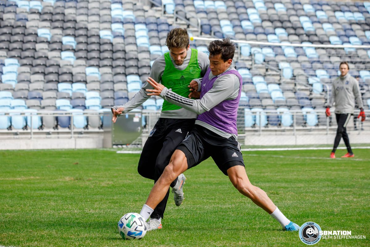 March 10, 2020 - Saint Paul, Minnesota, United States - Minnesota United defender Noah Billingsley (2) steps in to grab the ball from Minnesota United forward Luis Amarilla (9) during the Loon's first team practice at Allianz Field.