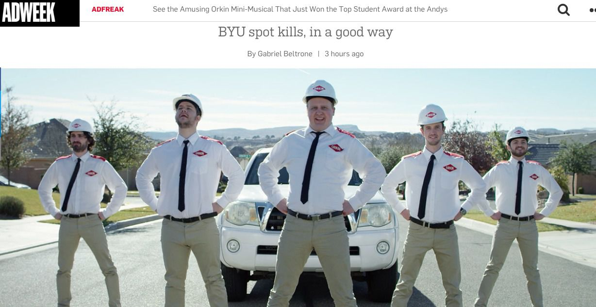 Adweek features BYU AdLab's winning video from ANDY Awards