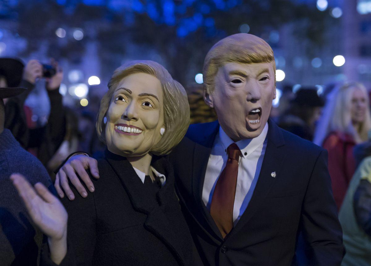 clinton and trump masks