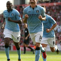 Manchester City's Javi Garcia celebrates scoring against Stoke City during the English Premier League soccer match at the Britannia Stadium, Stoke-on-Trent, England, Saturday Sept. 15, 2012. The match ended in a 1-1 draw.