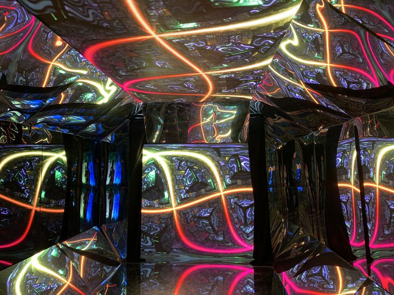 In addition to murals and sculpture, Artopia features responsive-light exhibits in which the colors and patterns change around you.