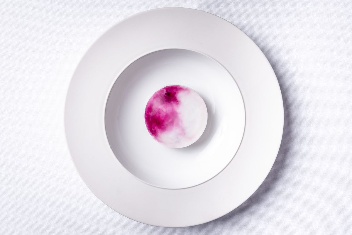 A cylinder of elderflower semifreddo is shot from above, highlighting the marbled purple-white hue of the dessert
