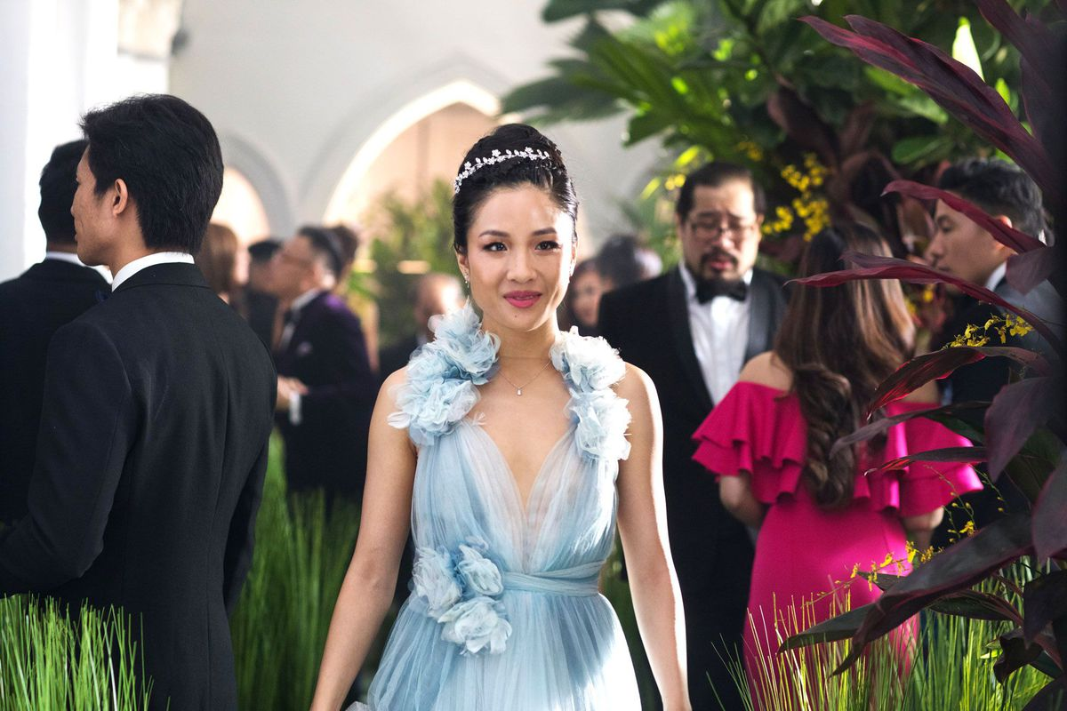36e7db7990f8 Constance Wu wears Marchesa in Crazy Rich Asians. Sanja Bucko Warner Bros.