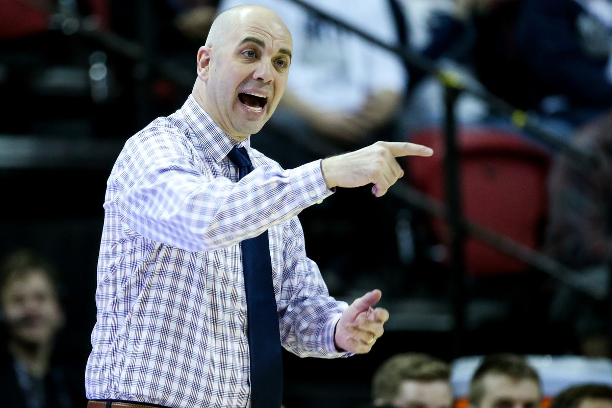 Utah State Aggies head coach Craig Smith calls out during a Mountain West Conference Tournament quarterfinal game against the New Mexico Lobos at the Thomas & Mack Center in Las Vegas on Thursday, March 14, 2019.