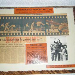 Reports about his boxing matches are among the mementos in Don Fullmer's home.