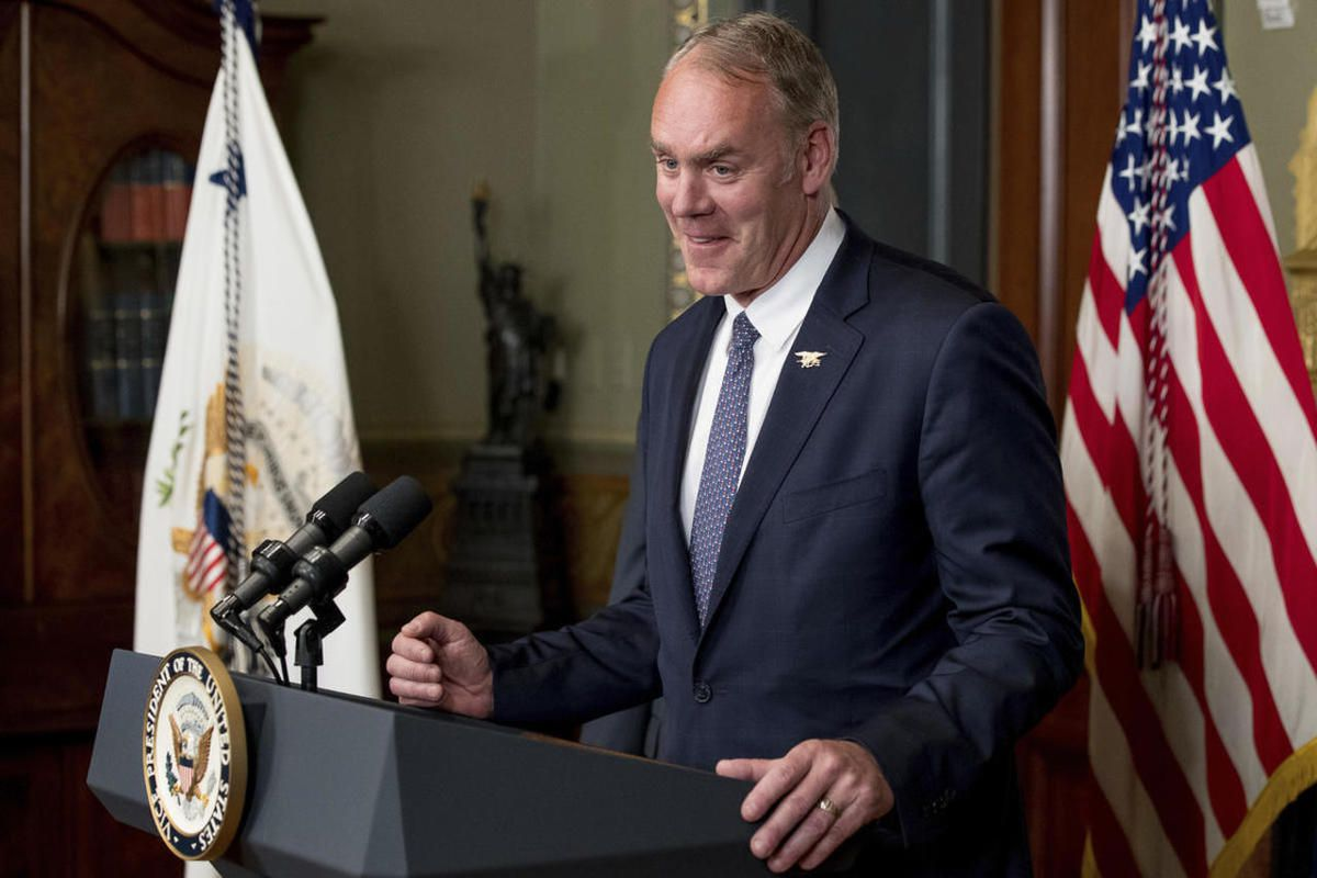 FILE— Newly sworn in Interior Secretary Ryan Zinke speaks, Wednesday, March 1, 2017, in the Eisenhower Executive Office Building on the White House complex in Washington.