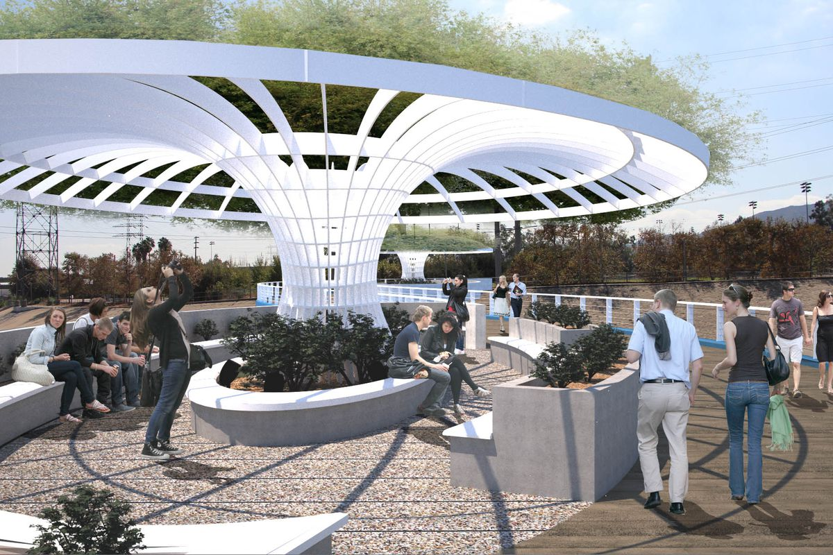 A rendering of the Glendale Griffith Park Bridge. There is a white domed structure in the center of a courtyard full of people.