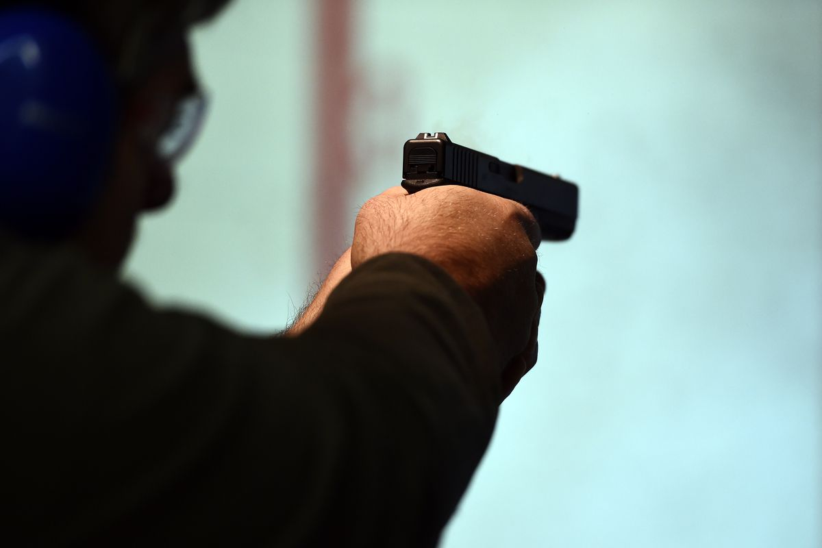 A police officer at a shooting range.