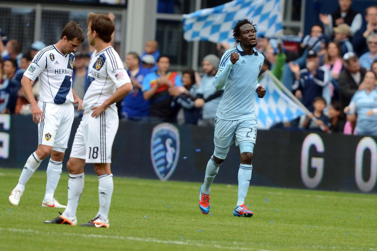 Ap 7, 2012; Kansas City, KS, USA; Sporting KC midfielder Kei Kamara (23) celebrates after scoring a goal against the Los Angeles Galaxy in the first half at Livestrong Sporting Park. Mandatory Credit: John Rieger-US PRESSWIRE