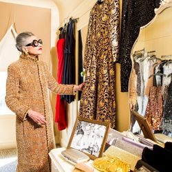 Bianchi in the Helpers House of Couture dressing room describes how this gilded gown incorporates horse hair to make the skirt stand out.