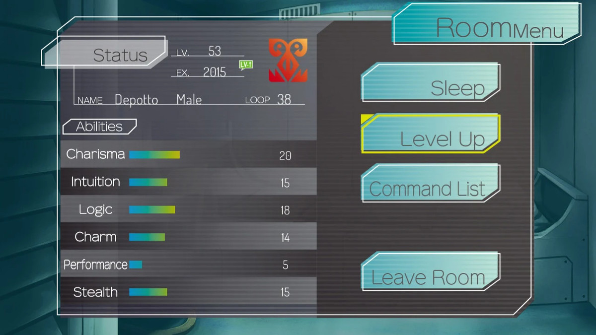 One of the menus in Gnosia depicting the character's level and stats