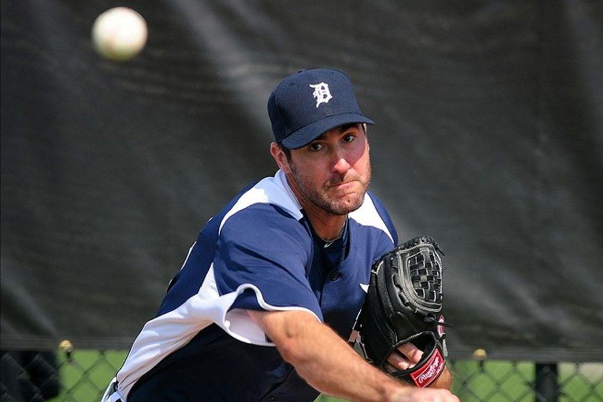 Feb 21, 2012; Lakeland, FL, USA; Detroit Tigers starting pitcher Justin Verlander during spring training at Joker Merchant Stadium.