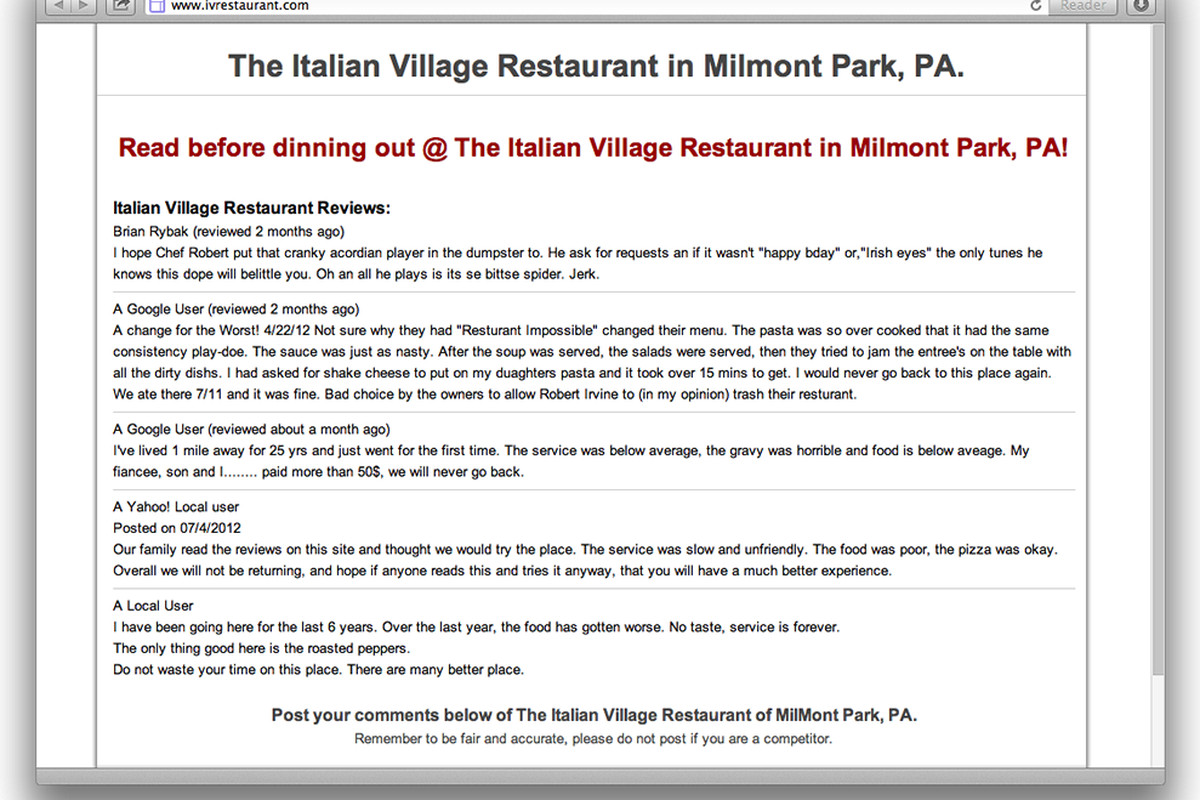 Pay up, or your restaurant site could look like this