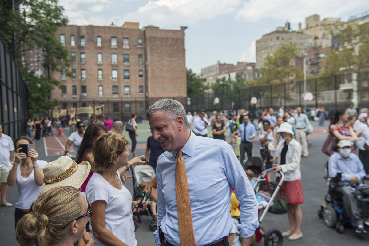 Mayor Bill de Blasio visits PS 9, The Sarah Anderson School, on the Upper West Side on Wednesday.