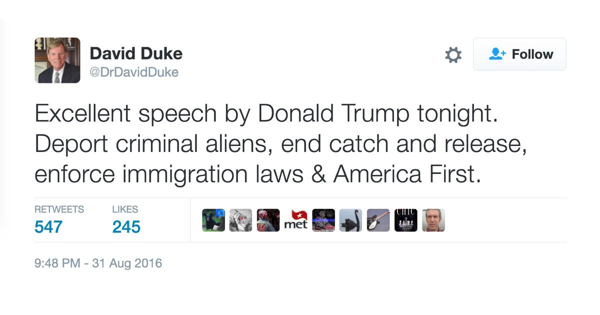 A tweet from David Duke in 2016.
