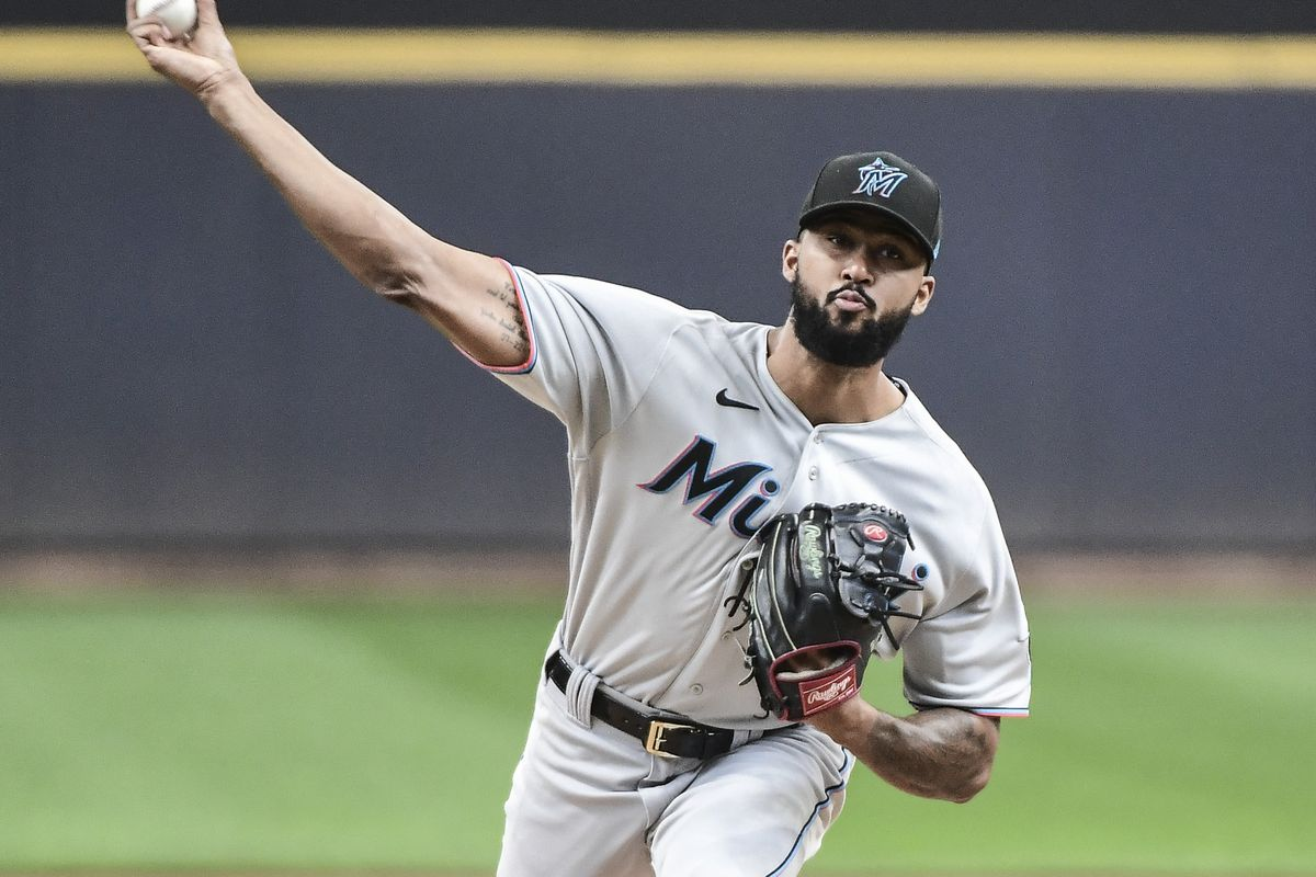 Miami Marlins pitcher Sandy Alcantara (22) pitches in the first inning against the Milwaukee Brewers at American Family Field.
