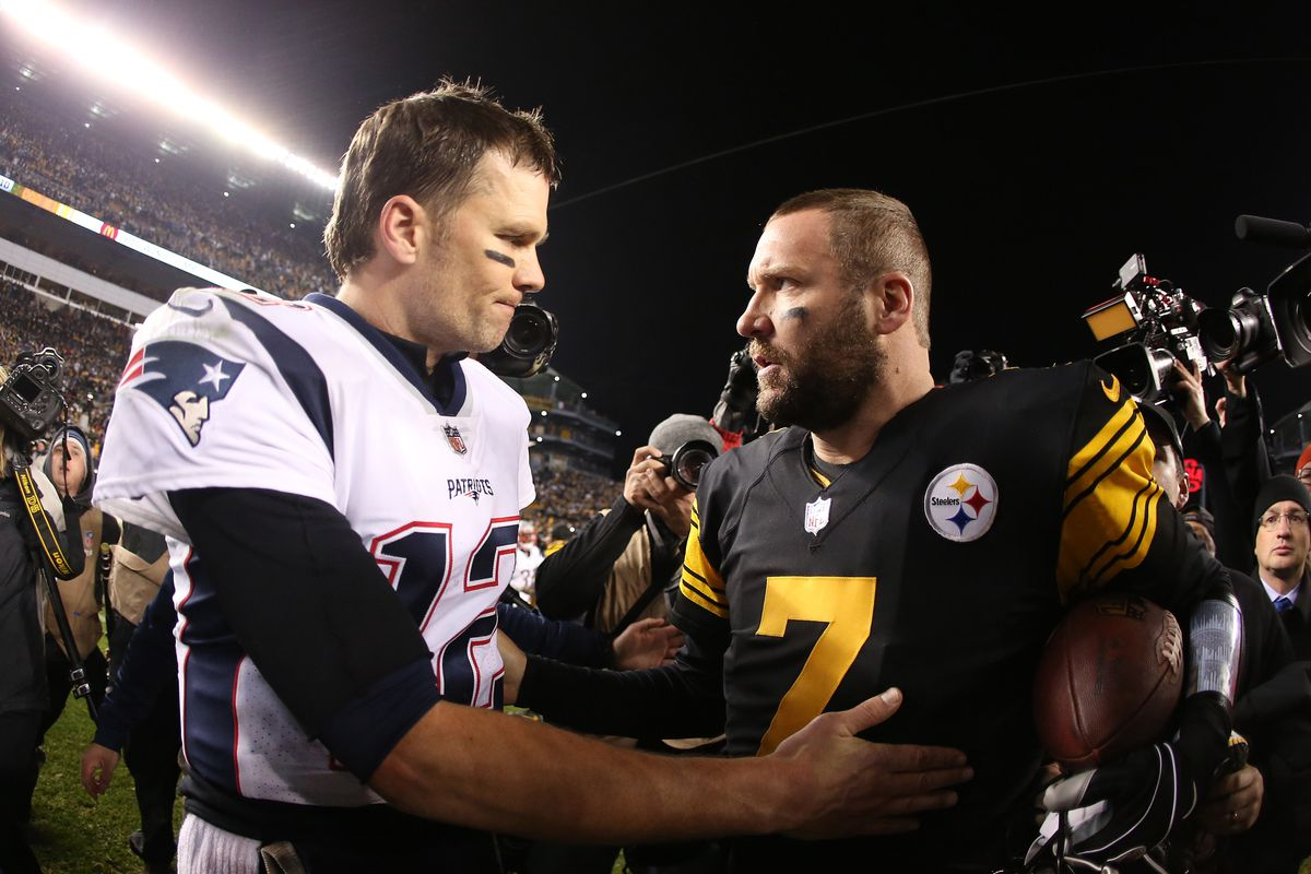 New England Patriots quarterback Tom Brady and Pittsburgh Steelers quarterback Ben Roethlisberger meet at mid-field after playing at Heinz Field.