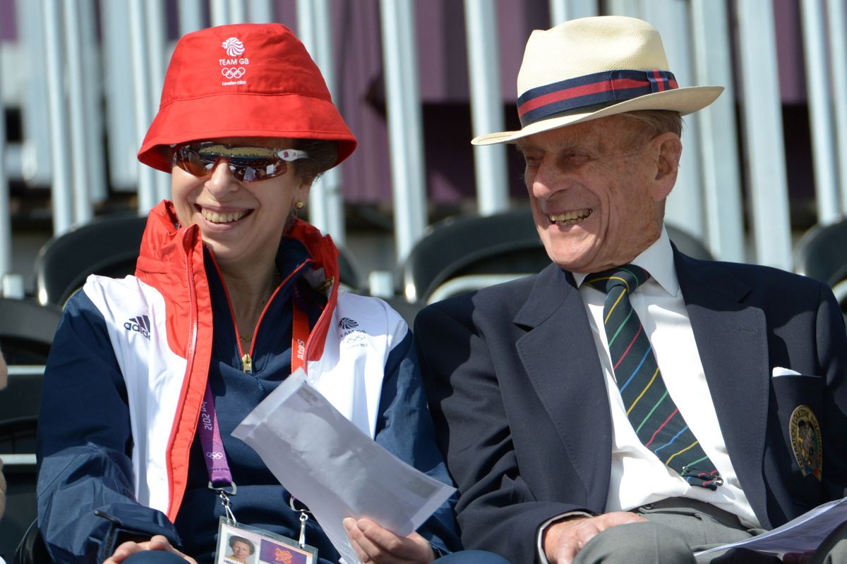 Jul 29, 2012; Greenwich, United Kingdom; Princess Anne (left) and Prince Phillip attend  Day 2 of the team dressage at Greenwich Park. Mandatory Credit: Kirby Lee-USA TODAY Sports