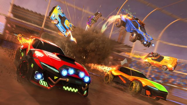 Cars emitting fire as they race through Rocket League