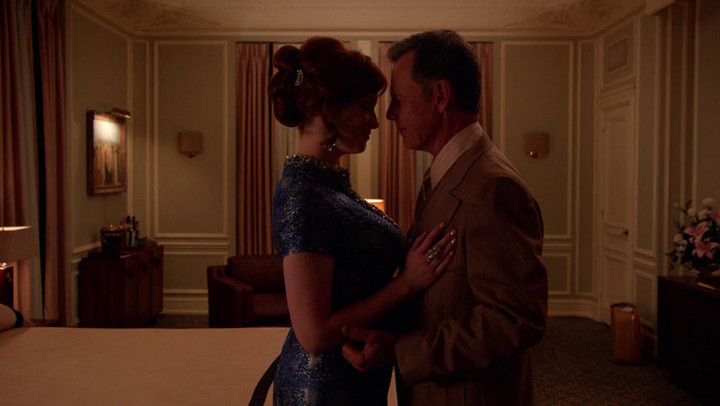 Joan and Richard fall for each other on Mad Men.