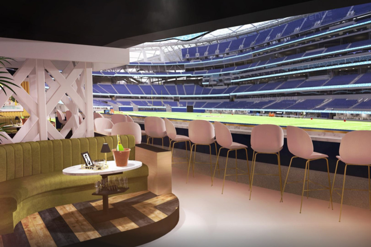 A rendering of a new nightclub that looks out, at field level, onto an NFL stadium.