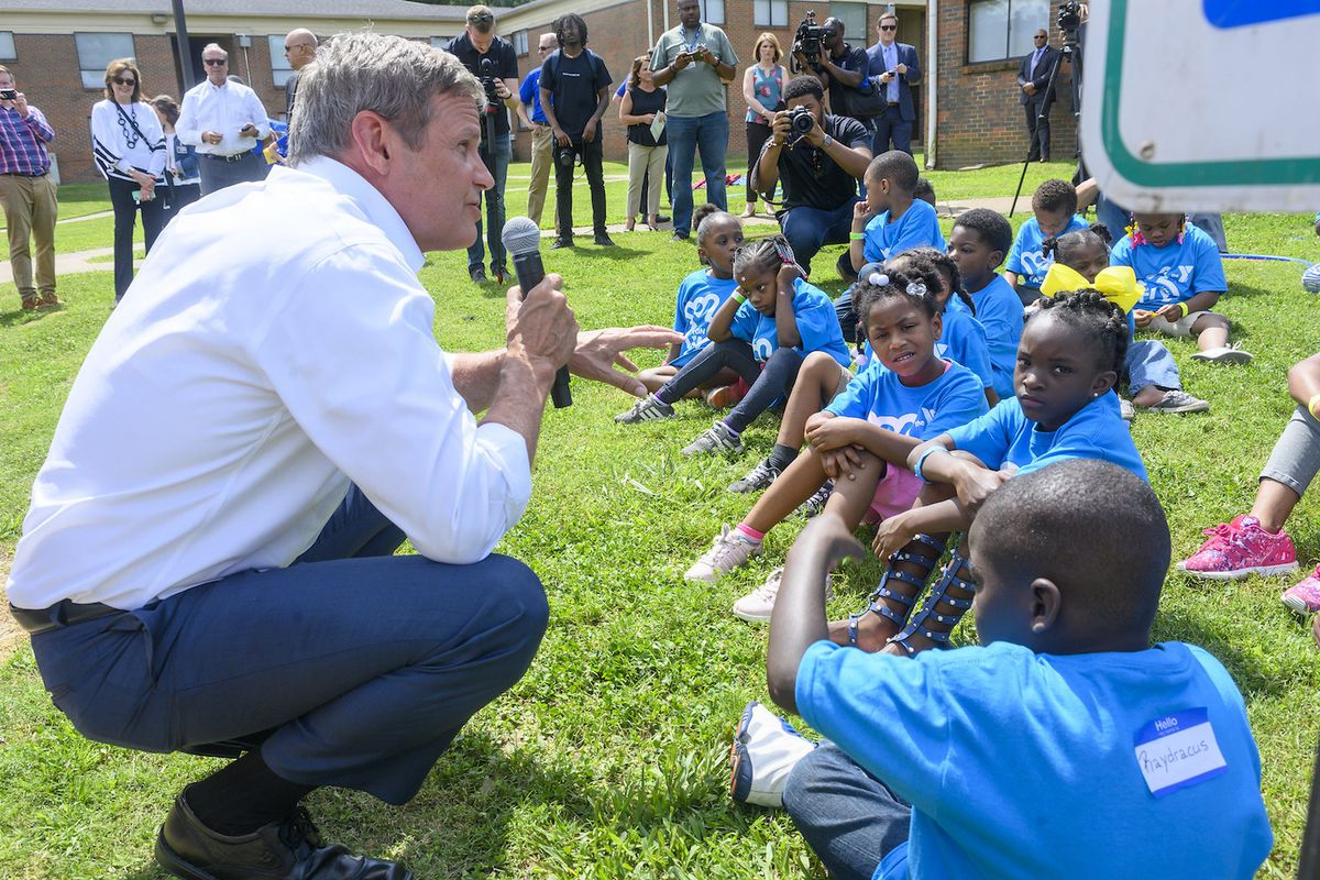 Gov. Bill Lee visits a YMCA program in Memphis and speaks with children who could be eligible for his education savings account program. Lee wants the program to launch in time for the 2020-21 school year.