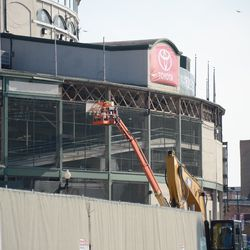 12:06 p.m. A panel being removed from the top of the ballpark -