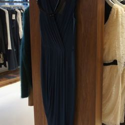 Doo Ri Maxi Jersey Dress with Belt in Teal<br />This amazing long dress by Doo.Ri features a deep v and a sumptuously draped skirt with a slit on the side. The optional black leather belt highlights the waist for a classic style you'll wear again and agai