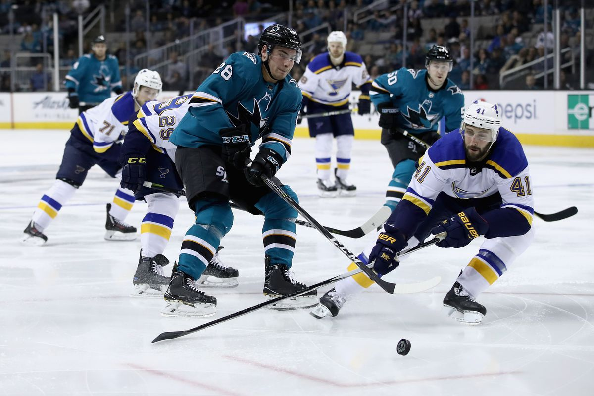 SAN JOSE, CA - MARCH 08: Timo Meier #28 of the San Jose Sharks an Robert Bortuzzo #41 of the St. Louis Blues go for the puck at SAP Center on March 8, 2018 in San Jose, California.