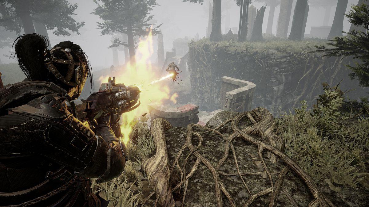 Deathgarden: Bloodharvest - a survivor escaping a hunter