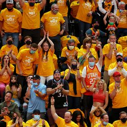 Jazz fans cheer as the Utah Jazz and Memphis Grizzlies play Game 2 of their NBA playoffs first round series at Vivint Arena in Salt Lake City on Wednesday, May 26, 2021.