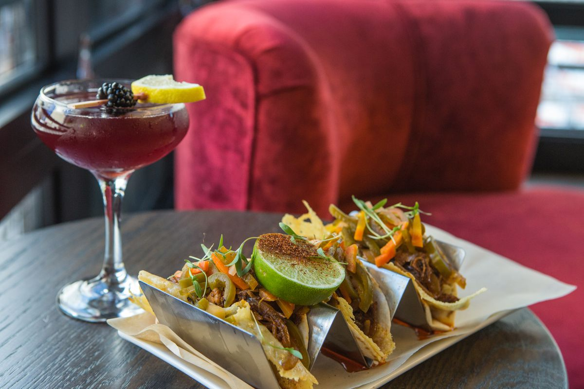 Spin's Muddy Waters cocktail with the Pork Jack tacos