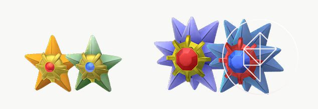 Shiny Staryu and Starmie stand next to their original versions. Shiny Staryu is green with a blue gem and Shiny Starmie is blue with a matching blue gem.