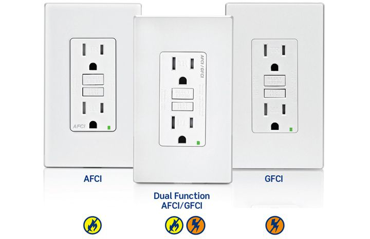 1. An AFCI outlet protects against fires by detecting arc faults, which create heat. Arcing often occurs in damaged wires. AFCI's are required in areas such as bedrooms and family rooms.<br>2. A GFCI outlet protects against electric shock caused by ground faults. GFCI's are required in any area with an increased risk of electrical hazards, such as areas where water is present, like bathrooms and laundry rooms. GFCI's can also be used as a replacement opti
