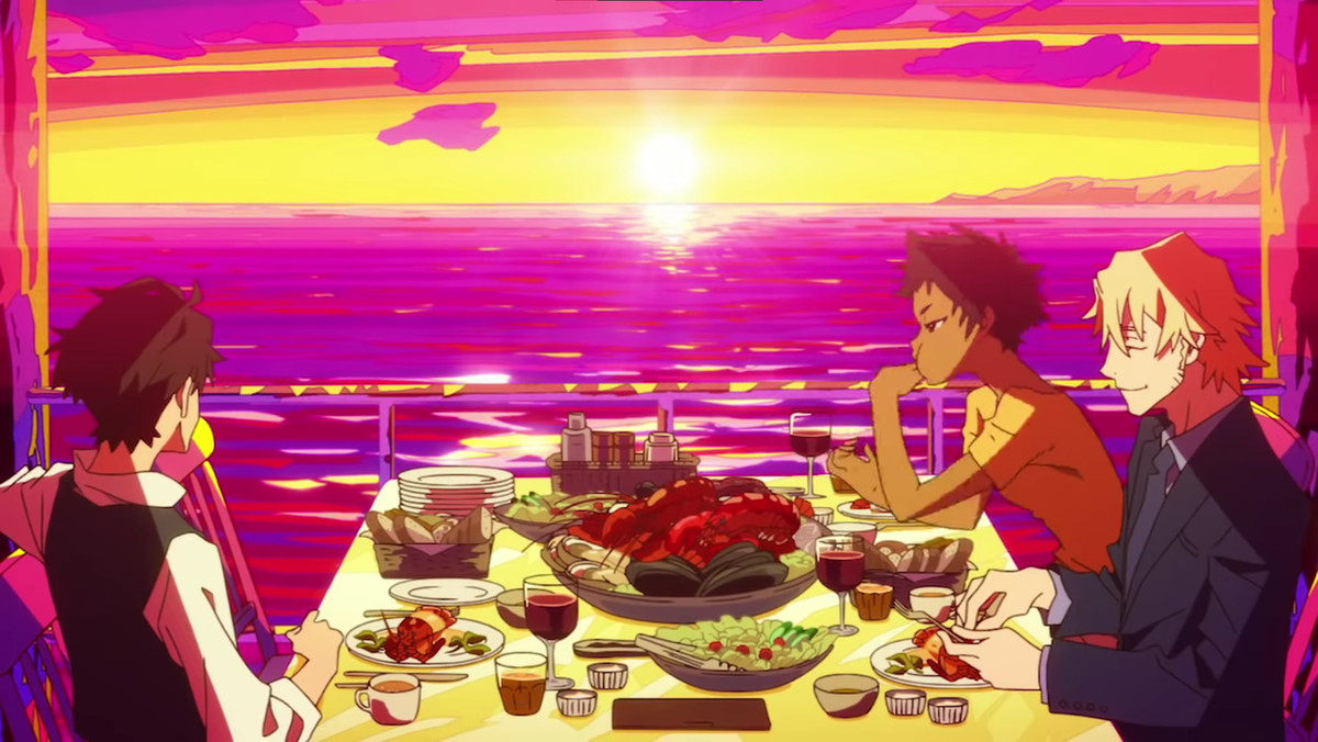 Edamura, Cynthia, and Laurent eat dinner by the sea in Great Pretender