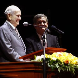 President Russell M. Nelson of The Church of Jesus Christ of Latter-day Saints speaks during a Latin America Ministry Tour devotional in Bogota, Colombia on Sunday, Aug. 25, 2019.