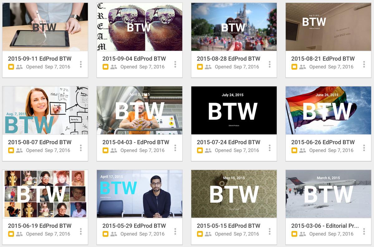 Screenshot of BTW covers
