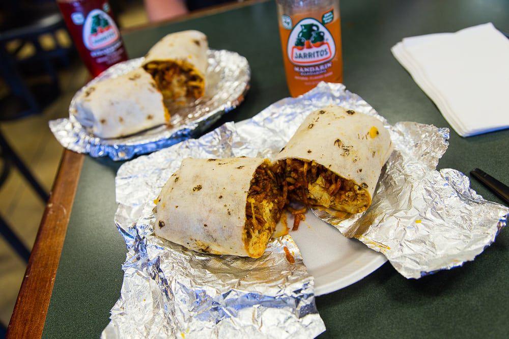 Chorizo and bacon breakfast burrito at Carlito's Burritos