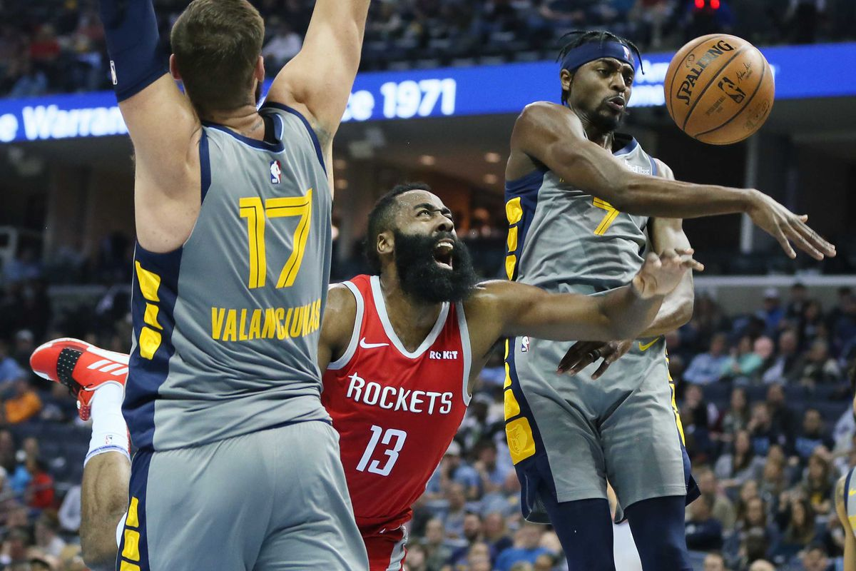 0a13918cec34 Harden went for 57 points but the Rockets were bested by Jonas Valanciunas   career night. Nelson Chenault-USA TODAY Sports