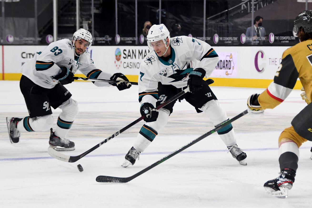 Dylan Gambrell #7 of the San Jose Sharks skates with the puck against the Vegas Golden Knights in the first period of their game at T-Mobile Arena on March 17, 2021 in Las Vegas, Nevada. The Golden Knights defeated the Sharks 5-4.