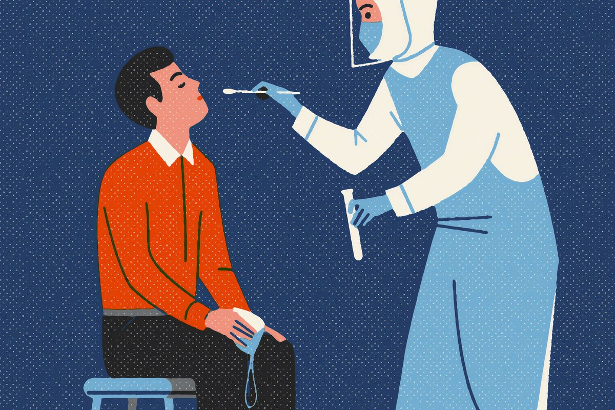 The Detroit Public Schools Community District is partnering with Wayne State University and Henry Ford Health System to offer the testing. Illustration of a patient and medical supervisor preparing for a COVID-19 nasal swab test.