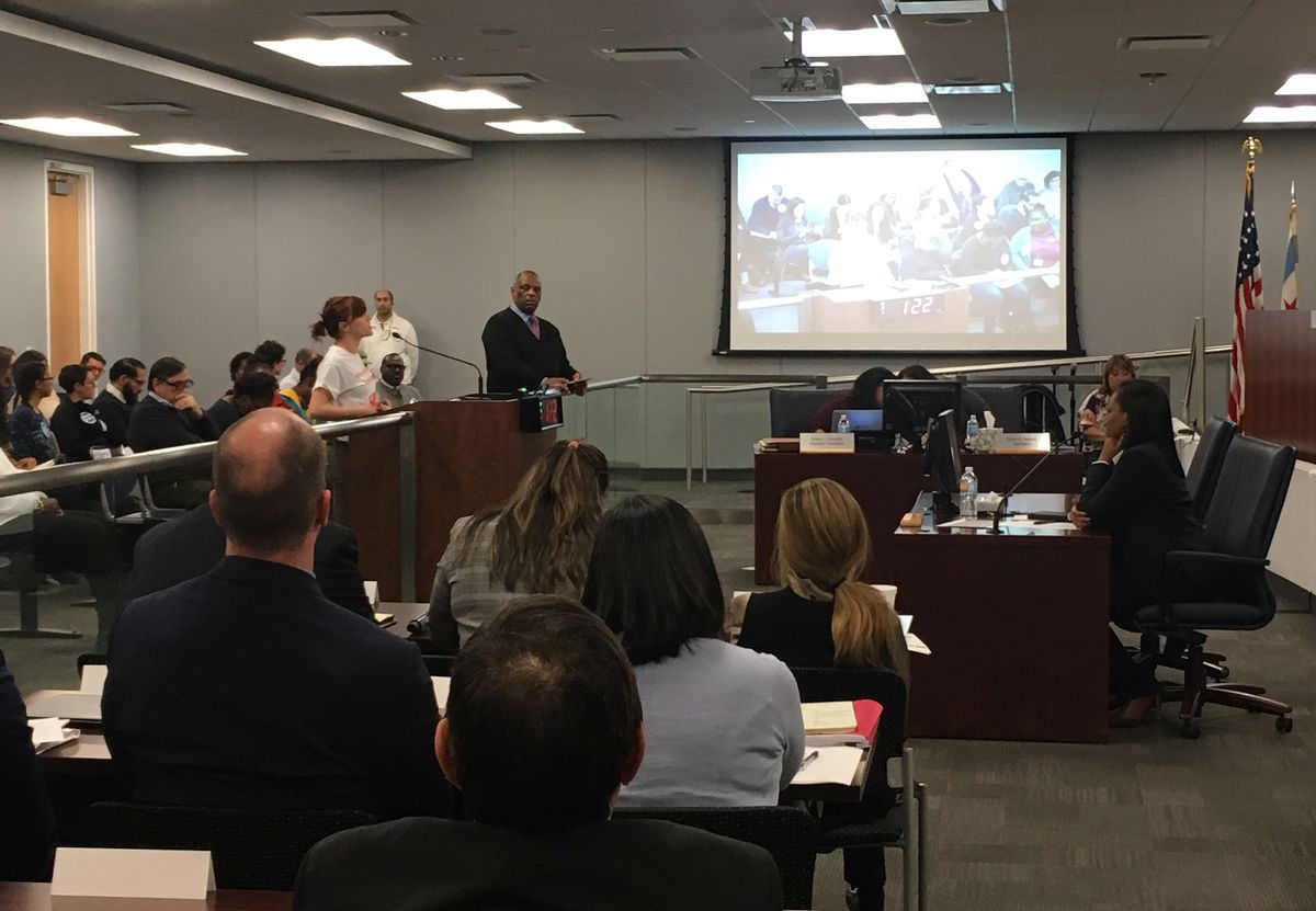 Only two people spoke at a Monday afternoon hearing on the CPS budget; attendance was a little higher at a 6 p.m. hearing, moved to a later time after some complaints. | Sun-Times staff