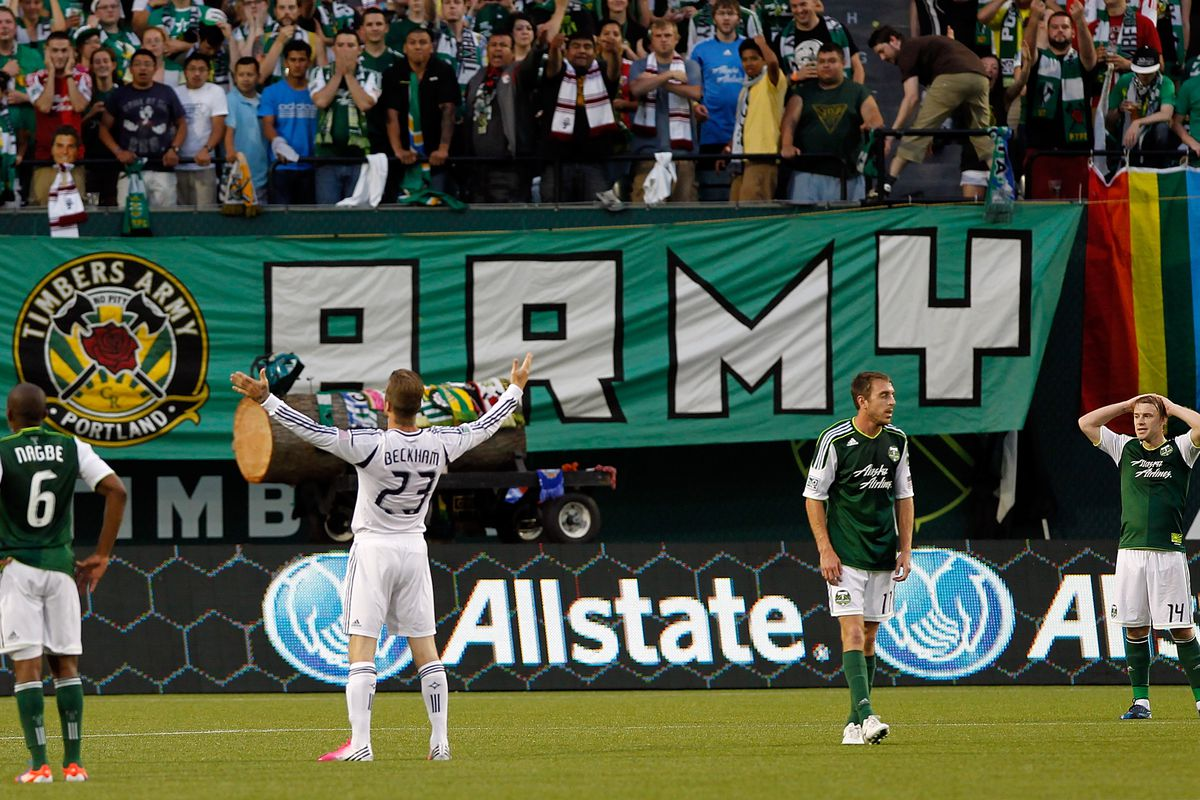 PORTLAND, OR - JULY 14:  David Beckham #23 of the Los Angeles Galaxy celebrates scoring his first goal in the first half against the Portland Timbers on July 14, 2012 at Jeld-Wen Field in Portland, Oregon.  (Photo by Jonathan Ferrey/Getty Images)