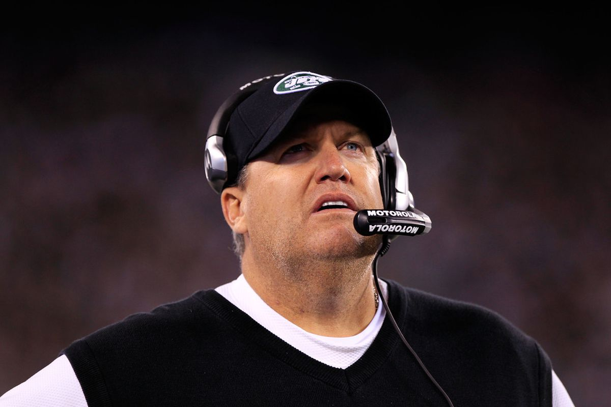 Head coach Rex Ryan of the New York Jets looks on during their game against the New England Patriots at MetLife Stadium on November 13, 2011 in East Rutherford, New Jersey.  (Photo by Chris Trotman/Getty Images)
