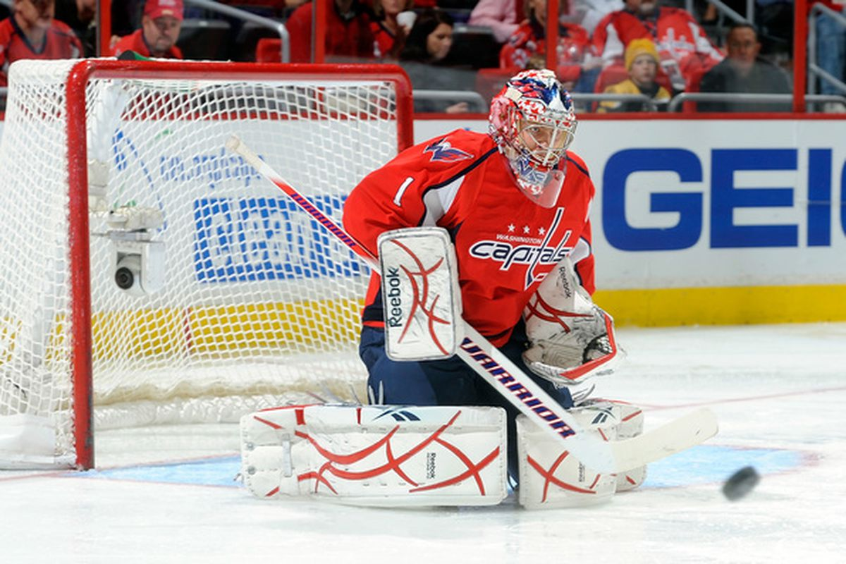 WASHINGTON - OCTOBER 19:  Semyon Varlamov #1 of the Washington Capitals makes a save against the Boston Bruins at the Verizon Center on October 19 2010 in Washington DC.  (Photo by Greg Fiume/Getty Images)