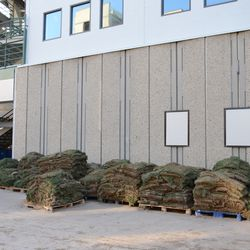 3:36 p.m. Removed sod being piled up on Sheffield Avenue, near Gate D -