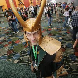 Damien Marsh wears his Loki costume at Comic Con in Salt Lake City Thursday, Sept. 5, 2013.